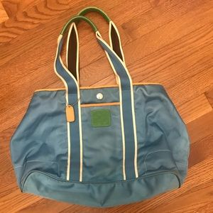 Coach blue satin tote handbag